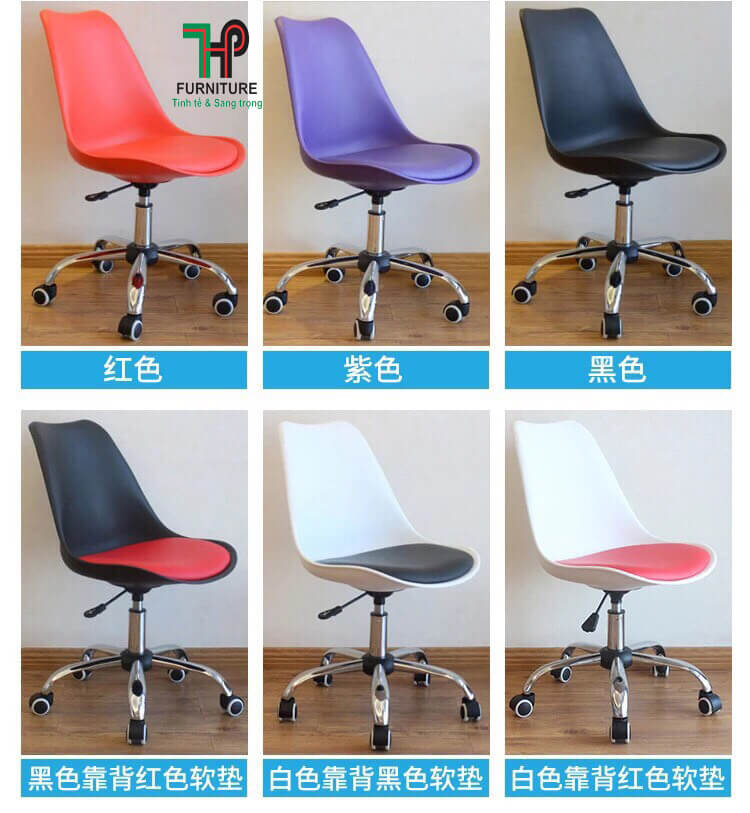 ghế nhựa chân xoay bánh xe nhiều màu