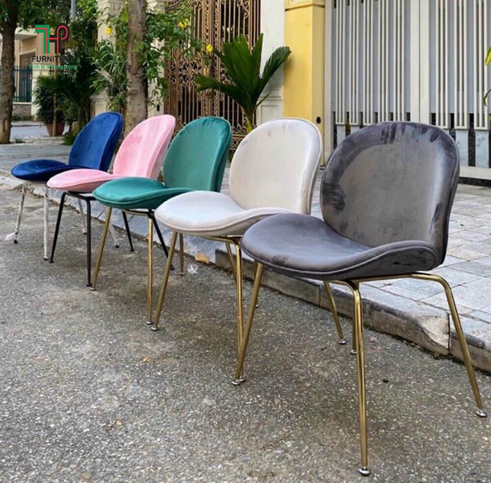 ghế rubi chân mạ vàng