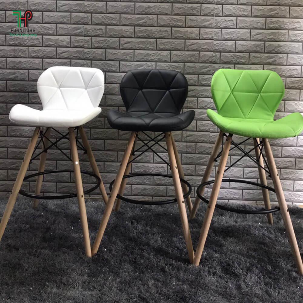 ghế bar chân gỗ nệm da